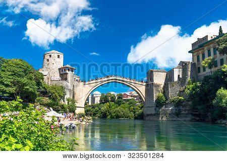 Mostar Bridge With People