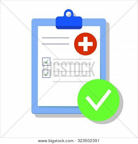 Medical Form List With Results Data And Approved Check Mark Vector Illustration, Flat Cartoon Clinic