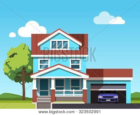 Colonial Neo Classical Architecture Style Mansion Building. Suburban House With Car Garage