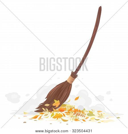 One Brown Broom With Long Wooden Handle Cleaning Fallen Leaves Isolated, Sweeping Fallen Leaves, Bro