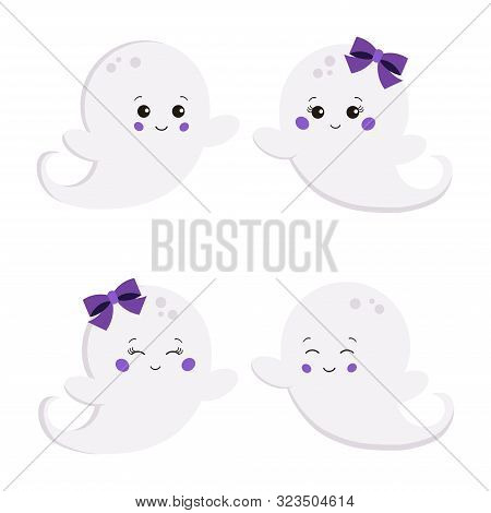 Vector Illustration Set Of Flat Cute Sweet Cartoon Smiling Boy And Girl Ghost Isolated On White Back