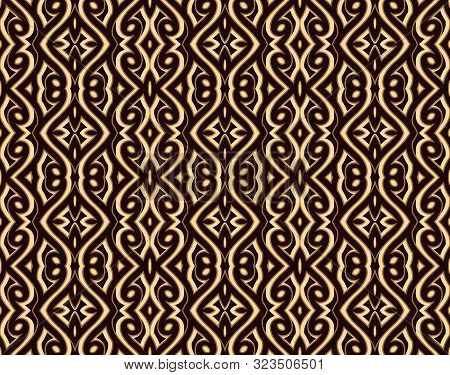 Vintage Gold Background With Engraved Geometric Ornament, Ornate Brocade Texture, Seamless Pattern
