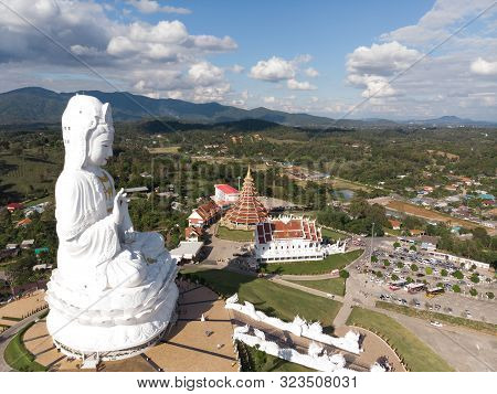 Aerial View Of Wat Huay Pla Kang Famous Place Attractions For Tourist In Chiang Rai .guan Im Statue