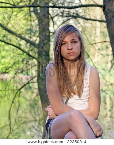 teenage girl in the forest