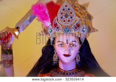 Abstract background of Goddess Durga, Idol of goddess Durga, Durga puja, Navratri, Hindu festival