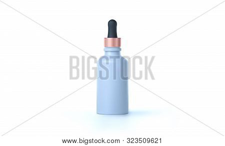 Elegant Cosmetic Dropper For Skin Care Isolated On White Background. Realistic Vector 3d White And G