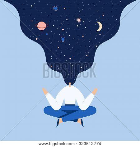 Woman Sitting In Yoga Lotus Pose. Modern Cartoon Female Character Doing Asana And Meditate. Night St
