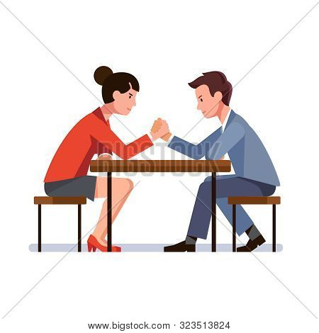 Business Man And Woman Sitting And Arm Wrestling