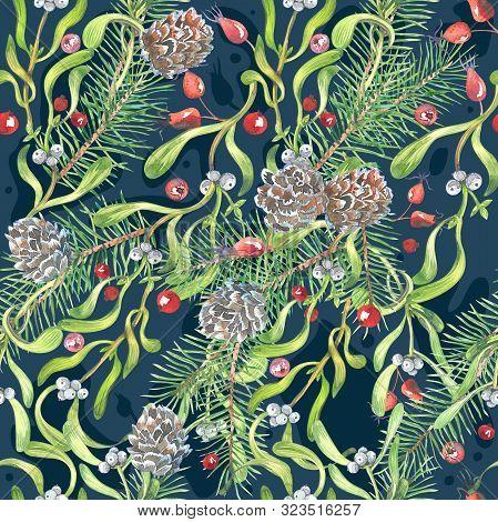 Watercolor Christmas Pattern, Hellebore Flowers, Mistletoe, Red Berries, Blue Background