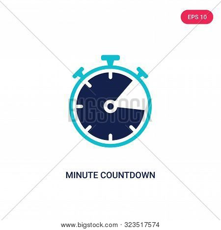 minute countdown icon in two color design style.