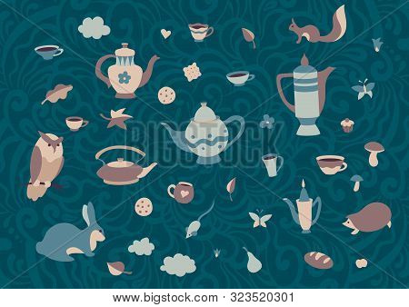 Set Of Cute Forest Animals With Cups And Teapots In Scandinavian Style. Cartoon Retro Collection Tea