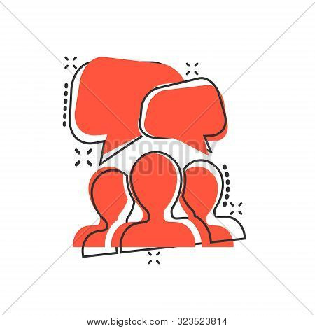Speak Chat Sign Icon In Comic Style. Bubble Dialog Vector Cartoon Illustration On White Isolated Bac