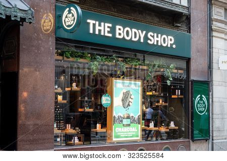 Stockholm, Sweden - April 20, 2019: The Window Of The Body Shop Retail Store Which Sell Natural Prod