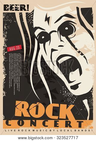 Rock Concert Poster Design Template With Mad Singer Portrait. Man Singing Rock Music Event Flyer Lay