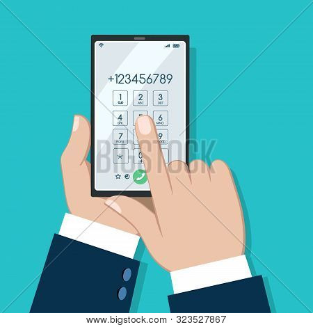 Businessman Phone Dialing Screen. Telephone Talk Numbers Dial Vector Illustration, Cell Phone Digita