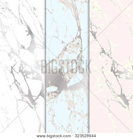 Marble Stone Textured. Vector Marble Background With Silver Lines Decoration. Set Of Marble Paterns.