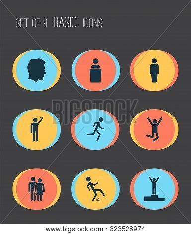 People Icons Set With Success, Jogging, Doing Selfie And Other Downfall Elements. Isolated Illustrat