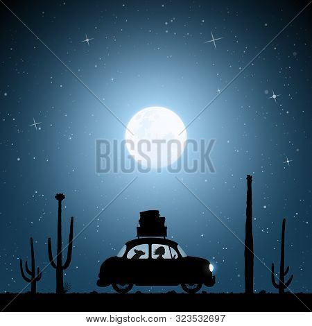 Cartoon Retro Car Between Cactuses On Road On Moonlit Night. Vector Illustration With Silhouettes Of