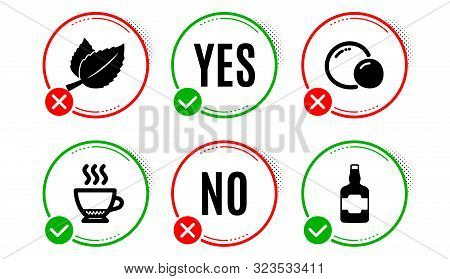 Mint Leaves, Peas And Espresso Icons Simple Set. Yes No Check Box. Whiskey Bottle Sign. Mentha Herba