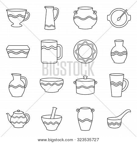 Isolated Object Of Ware And Tableware Icon. Collection Of Ware And Clayware Stock Vector Illustratio