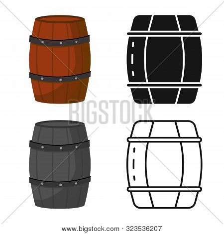 Isolated Object Of Cask And Wine Symbol. Set Of Cask And Wooden Stock Symbol For Web.