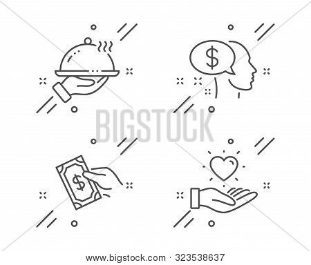 Pay, Pay Money And Restaurant Food Line Icons Set. Hold Heart Sign. Beggar, Hold Cash, Room Service.