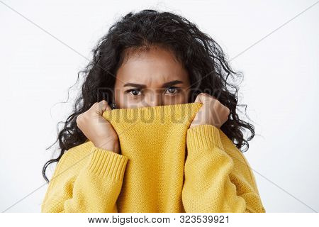 Close-up Offended Sulking African American Pretty Girlfriend With Black Curly Hair, Frowning Upset,