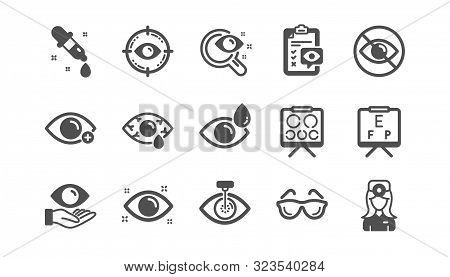 Optometry, Eye Doctor Icons. Medical Laser Surgery, Glasses And Eyedropper. Pink Eye, Cataract Surge