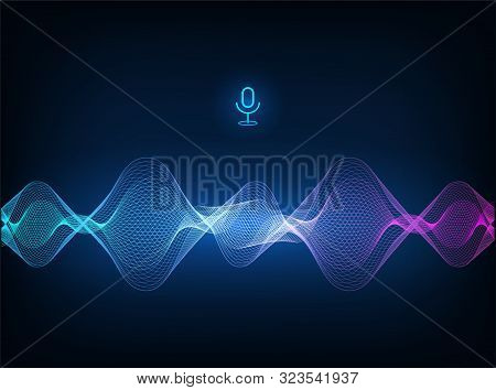 Voice Assistant Concept. Vector Sound Wave. Microphone Voice Control Technology, Voice And Sound Rec