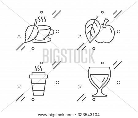 Takeaway, Apple And Mint Tea Line Icons Set. Wine Glass Sign. Takeout Coffee, Fruit, Mentha Beverage