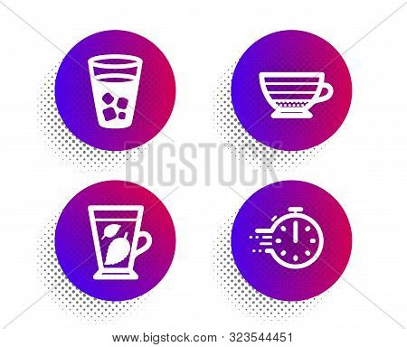 Mint Leaves, Ice Tea And Cappuccino Icons Simple Set. Halftone Dots Button. Cooking Timer Sign. Ment