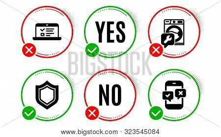 Web Lectures, Security And Washing Machine Icons Simple Set. Yes No Check Box. Phone Survey Sign. On