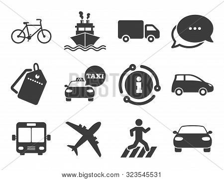 Car, Bike, Bus And Taxi Signs. Discount Offer Tag, Chat, Info Icon. Transport Icons. Shipping Delive