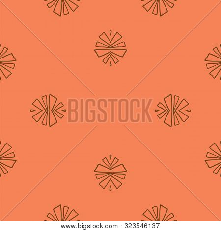 Terracota And Burgundy Tribal Abstract Seamless Pattern.