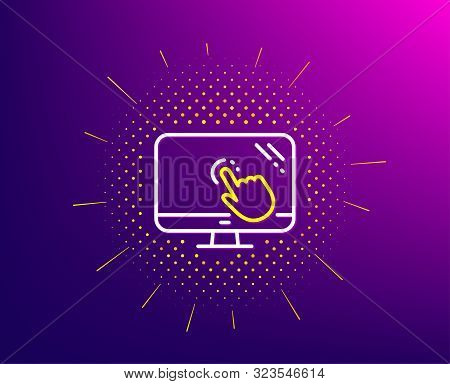 Touch Screen Line Icon. Halftone Pattern. Online Quiz Test Sign. Gradient Background. Touch Screen L