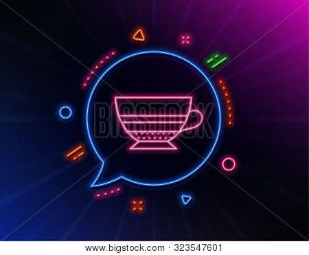 Mocha Coffee Icon. Neon Laser Lights. Hot Drink Sign. Beverage Symbol. Glow Laser Speech Bubble. Neo