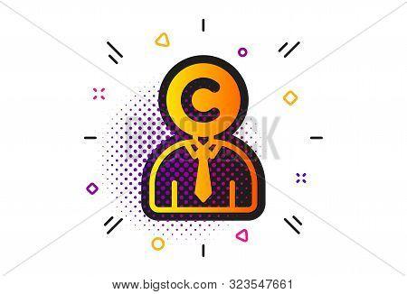 Writer Person Sign. Halftone Circles Pattern. Copyrighter Icon. Copywriting Symbol. Classic Flat Cop