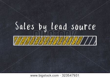 Chalk Drawing Of Loading Progress Bar With Inscription Sales By Lead Source.