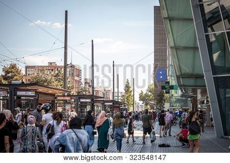 Lyon, France - July 2019: Crowd Of French People, Busy, Mainly Shoppers, Walking And Passing By The