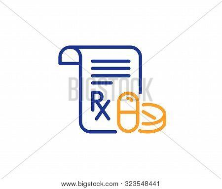 Medicine Pills Sign. Medical Prescription Line Icon. Pharmacy Medication Symbol. Colorful Outline Co