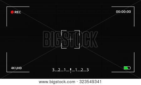 Camera Frame Viewfinder Screen Of Video Recorder Digital Display Interface. Vector Camera Viewfinder