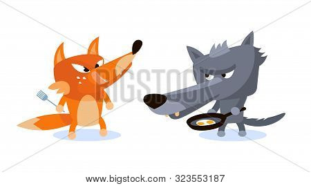 Wolf And Fox Ready To Eat Scrambled Eggs