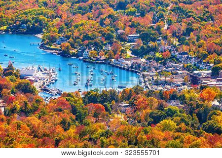 View From Mount Battie Overlooking Camden Harbor, Maine. Beautiful New England Autumn Foliage Colors
