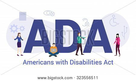 Ada Americans With Disabilities Act Concept With Big Word Or Text And Team People With Modern Flat S
