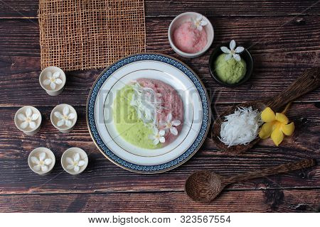 Thai Popular Dessert ,steamed Rice Flour With Toddy Palm,call Kanom Kee Noo Luk Tal In Thai.