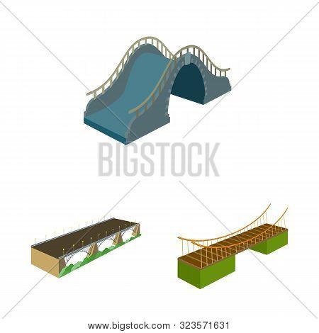 Vector Illustration Of Bridgework And Architecture Symbol. Set Of Bridgework And Structure Stock Vec