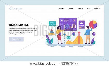 Vector Web Site Design Template. Data Analytics Concept. Financial Report And Presentation, Teamwork