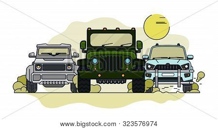 Off Road Landscape Poster. Driving In Mountains. 4x4 Car. Editable Vector Illustration In Bright Col