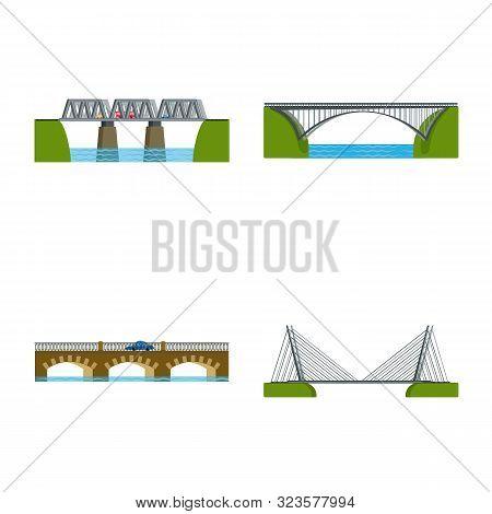 Vector Illustration Of Bridgework And Bridge Icon. Collection Of Bridgework And Landmark Stock Symbo
