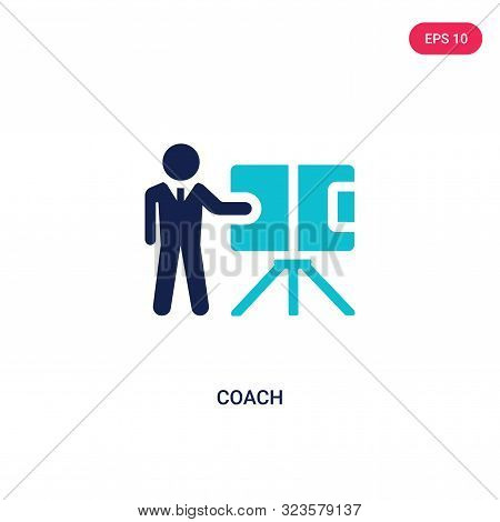 coach icon in two color design style.